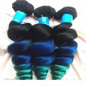 8A Grade Three Tone 1B Blue Green Peruvian Loose Wave Ombre Hair Weave 3 Bundles #1B Blue Green Human Hair Weaves Wavy Extensions
