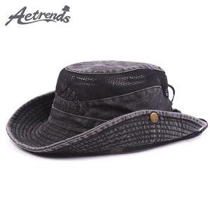 Cloches [AETRENDS] Summer Mesh Caps Bucket Hats For Men Sun Hat Z-5319