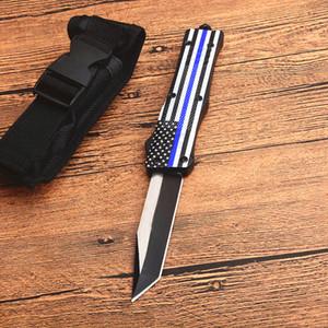 Drapeau bleu poignée A161 Autao Couteau tactique 440C Two Tone Tanto point lame alliage Zn-Al poignée Couteaux EDC avec sac en nylon