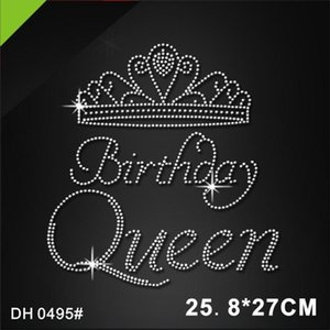 Free shipping Birthday queen hot fix crystal rhinestone transferDIY DH0495#