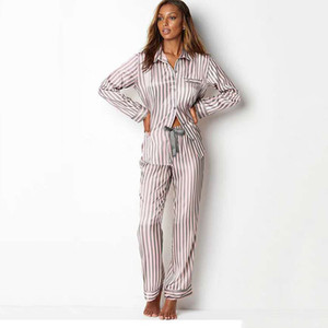 Satin Pijamas Long Sleeves Striped Silk Pajamas for Women Pjs Sleepwear Set Fashion Loungewear Homewear Home Clothes 201105
