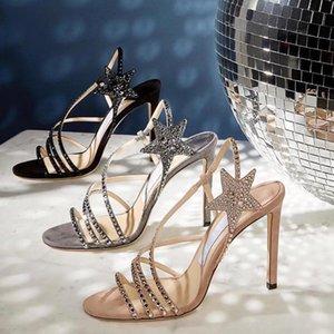 Donne pompe ad alta sottile tacco sottile modello donna scarpe da donna scintillio cristallo abbellito runway stella moda chic scarpe da sposa