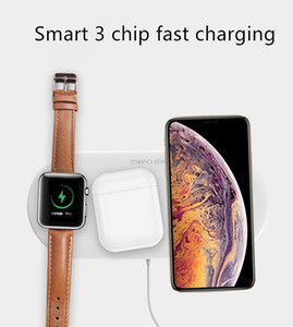 Min.1pcs QI Universal Wireless Charger Pad 3-In-1 10w Fast Charge For Cell Phone & Apple Series Watch & Wireless Earbuds Bluetooth