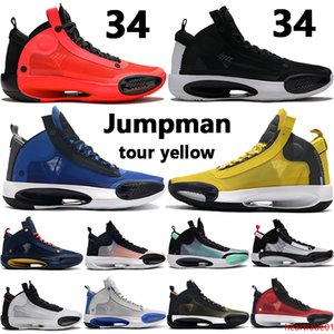 Jumpman new 34 34s mens basketball shoes black volt CNY game royal tour yellow amber rise eclipse men sport sneakers US 7-12