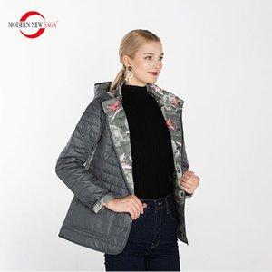 MODERNE NEW SAGA Automne coton rembourré à capuchon réversible femmes Manteau chaud Femme Taille russe 201007