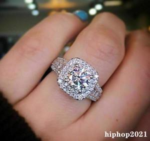 Womens Wedding Rings Fashion Silver Square Gemstone Engagement Rings Jewelry Simulated Diamond Ring