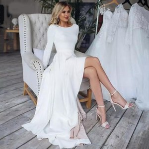 2021 Simple Boho Wedding Dresses Scoop Neck Long Sleeves Custom Made High Low Covered Buttons Plus Size Wedding Gown Robes de mariee