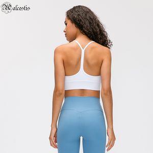 Yoga Bra Gym Büstenhalter Kleidung Outfit Slim Solide Weste Cross Body Mechanics Sport Elastisch Outdoor Workout Jogging Fitness Laufen
