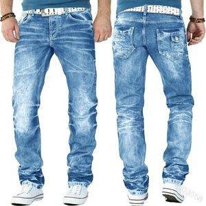 Hombres blanqueados pantalones de mezclilla pantalones de mezclilla sueltos rectos altos hombres hombres jeans bolsillos botón asiático s-xxxl