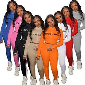 Donne 2 Due tute pezzo solido di colore a maniche lunghe Jogger Set Pullover sportivi casuali della molla di autunno di sport Outfits Abbigliamento taglie
