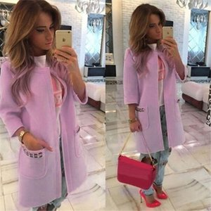 Hot Sale Autumn Winter Ladies Coat Sweet Candy Color Solid Thickened Warm Long Sleeves Midi length Woolen Coat