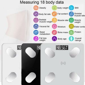الدهون في الجسم مقياس الطابق دقيقة الذكية الالكترونية LED الرقمية مقياس وزن الحمام ميزان بلوتوث APP الروبوت أو IOS بلوتوث