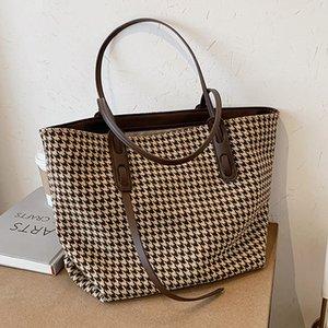 Большая мощность Houngstooth Tote Женская сумка на плечо старинные клетки большие женские сумки роскошные композитные женские сумки покупатели сумки C1016