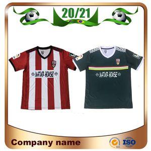 20/21 UD Logrones Futebol Jerseys 2020 Home # 17 Andy # 14 Errasci # 16 Naki Camisa de Futebol # 9 Vitoria # 10 Zelu Away Futebol Uniformes