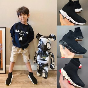 Balenciaga Kid Sock shoes Luxury Brand Designer shoes Pisos Speed ​​Trainer zapatilla de deporte de la muchacha del alto-top de los zapatos corrientes 24-35 Negro Blanco