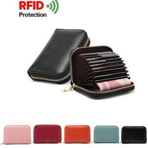 RFID Blocking Men Leather Wallet Card Holder For Business Credit Cards Zip Pocket Case Women Purse Clip Multiple Card Slots Package