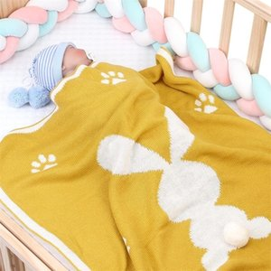 Baby Blankets Cute 3D Rabbit Knitted Newborn Bebe Swaddle Wrap Blanket Spring Summer Children Stroller Bedding Linen Cover Quilt Y200109