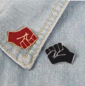 Raised fist red power of unity brooches Solidarity symbol JEWELRY Black lives matter pins for men women