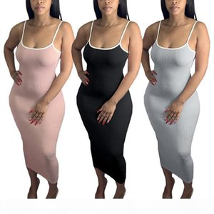 Women Summer street O neck Knitted Spaghetti Strap Sleeve Solid Bodycon Midi Maxi Dress Fashion Sport Long Pencil dye Loose Dresses