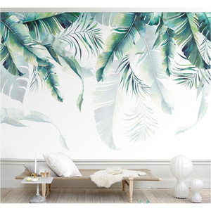 Custom Photo Mural Wallpaper Tropical Rain Forest Palm Banana Leaves Wall Painting Bedroom Living Room Sofa Ba jllxOd lajiaoyard