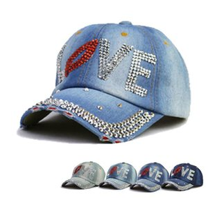 New spring summer autumn and winter cotton denim diamond-studded ladies baseball cap sunscreen sunshade cap outdoor sports hat