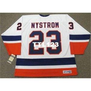 421 # 23 Bob Nystrom New York Adaları 1982 CCM Vintage Home Hokey Forması veya Özel Herhangi bir isim veya sayı Retro Jersey