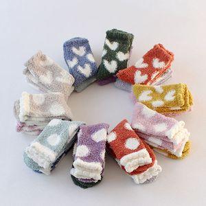 Kawaii Winter Coral Velvet Warm Women Socks Plush Lovely Socks Heart Dot Pattern Carpet Ladies Socks