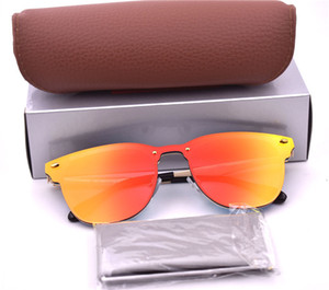 High Quality 54mm 50mm color Mirror Lens Metel Frame UV400 Protection 3576 Style Sunglasses For Men Women with box and case
