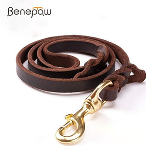 Benepaw High-end Cowhide Leather Leash Dog Handmade Durable Pet Leash For Large Dogs Brass-plated Hot Sale Pet Supplies Shop 1020