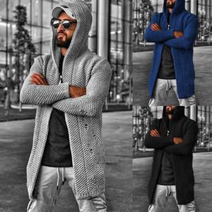 Suéteres de punto para hombre con capucha Cardigan suéteres Manga larga color sólido rebeca de la moda de los hombres capa de la chaqueta S-5XL