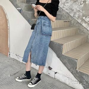 2020 Summer New Style Retro Hong Kong Flavor Mid-length Denim Skirt Female Large Size Fat mm Slimming Slit Skirt