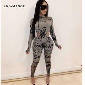 Anjamanor 섹시한 2 피스 세트 여성 긴 소매 Bodysuit 레깅스 클럽 복장 Sweatsuits 플러스 사이즈 겨울 의류 T200528