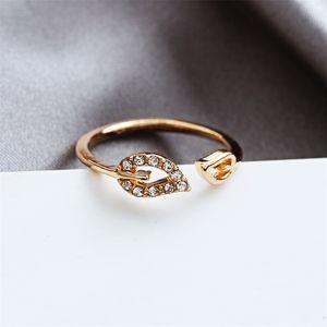 Jewelry wholesale fashion flash diamond love ring leaf rhinestone peach heart adjustable joint ring