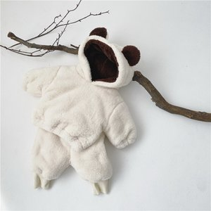 2021 New Spring Baby Pajamas Solid Long Sleeve Bear ears Sweatershirt Sleep 2 Piece Sets Lovely Warm Girls Boys Clothes E2523