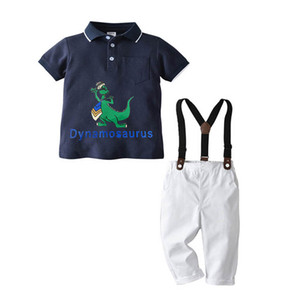 Summer baby boys suits casual kids suits short sleeve Tops+ suspender trousers 2pcs set boys clothing sets boys clothes B3620
