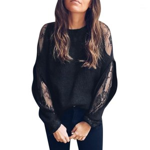 Spring Knit Women Tops O Neck Solid Color Patchwork Long Sleeve Hollow Out Lace Decor Pullovers1