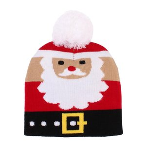 Toddler Baby Christmas Beanie Cap Cute Printed Winter Warm Knitted Hat with Pom Pom for Boys and Girls