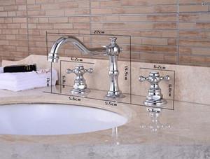 Retro Bathroom Double Handle Faucet Oil Rubbed Bronze Faucet Basin Sink Mixer Tap.3 Hole Two Handle Faucet bbyMZY sweet07