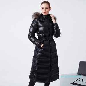 Long Puffer Down Jacket Women Winter Waterpoof Female Parkas 2020 Natural Fur Collar Hooded Shiny 90% White Duck Down Coat