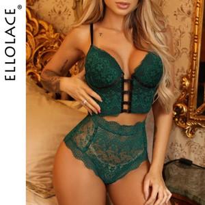 Ellolace Dessous Set Sexy Frauen Unterwäsche BH und Bandage Hight Taille Höschen BH und Panty Set Unterwäsche-Spitze-Wäsche