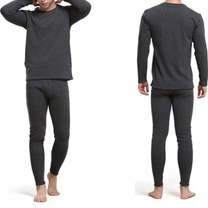 GAOKE Winter Round Neck Warm Long Set For Men Ultra-Soft Solid Color Thin Thermal Underwear Plus Size L-3XL