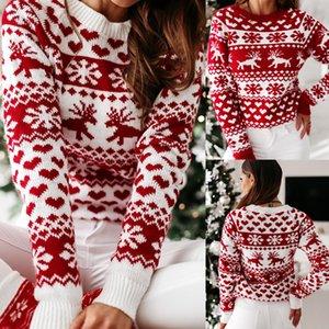 Donne autunno inverno inverno maglione natalizio signore maglia jumper pullover donne maglione snowflake elk stampa maglioni e pullover