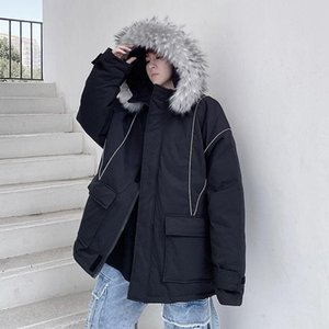 Hybskr Men's Korean Streetwear Parkas Casual Woman Oversize Hooded Coats Graphic Printed Hip Hop Man Winter Warm Fashion Parka