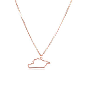 5 Hollow Asia Syria map State geography Necklace Outline city Hometown geometric souvenir Clavicle Pendant Necklace Jewelry