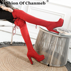 LeShion Of Chanmeb Stretch Elastic Faux Suede Platform High heeled Boots Women Over the Knee Thigh High Boots Shoes