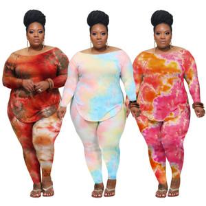 femmes deux pièces Tenues Set Survêtement Femmes Vêtements Casual Tie-dye T-shirt manches longues et pantalons Costumes Vêtement Grandes Tailles