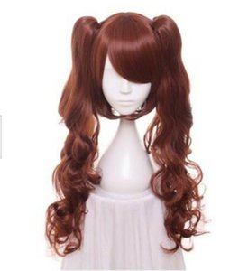 Summer fashion long 75cm brown curly hair charming synthetic wig