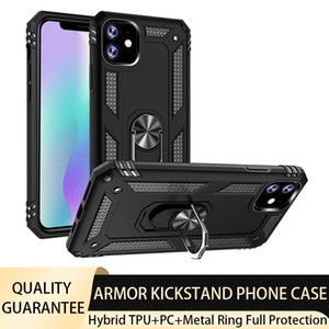 Armor Defender Phone Case for iPhone 12 Pro Max 11 XS Xiaomi Samsung Hybrid PC TPU Shockproof Metal Ring Kickstand Protective Designer Cases