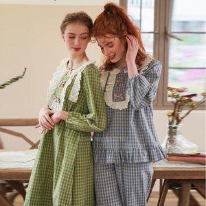 Renaissance Court Princess Style Women Pajamas Set Full Sleeve Top Trousers Suit Jacquard Bow Tie Lolita Sleepwear Nightgown 201105