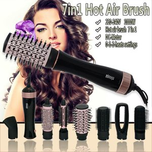 Bath Accessory Set 7 In 1 Hairdryer Rotary Air Brush Salon Hair Dryer Curler Comb Multifunctional Style Tools1